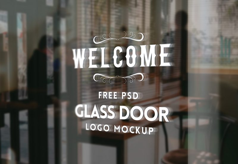 Free Glass Door Logo Mockup