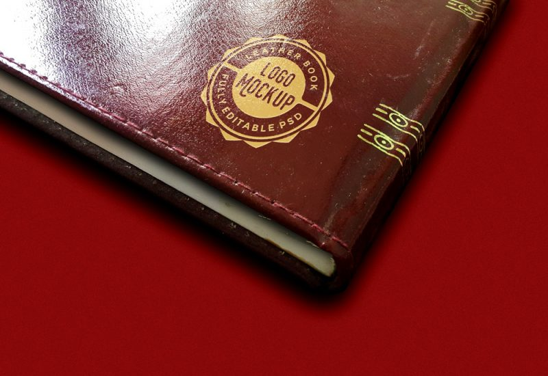 Leather Book Logo Mockup PSD