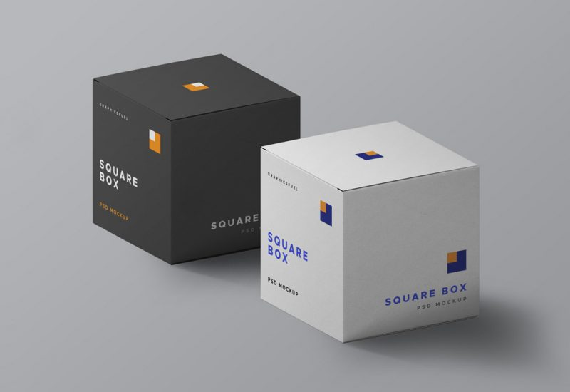 Square Box PSD Mockups