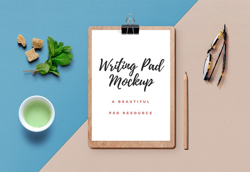 Wooden Writing Pad Mockup PSD